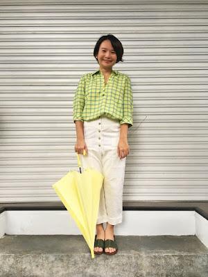 半夏U領襯衫-月光海(檸綠黃格)老幫手實穿
