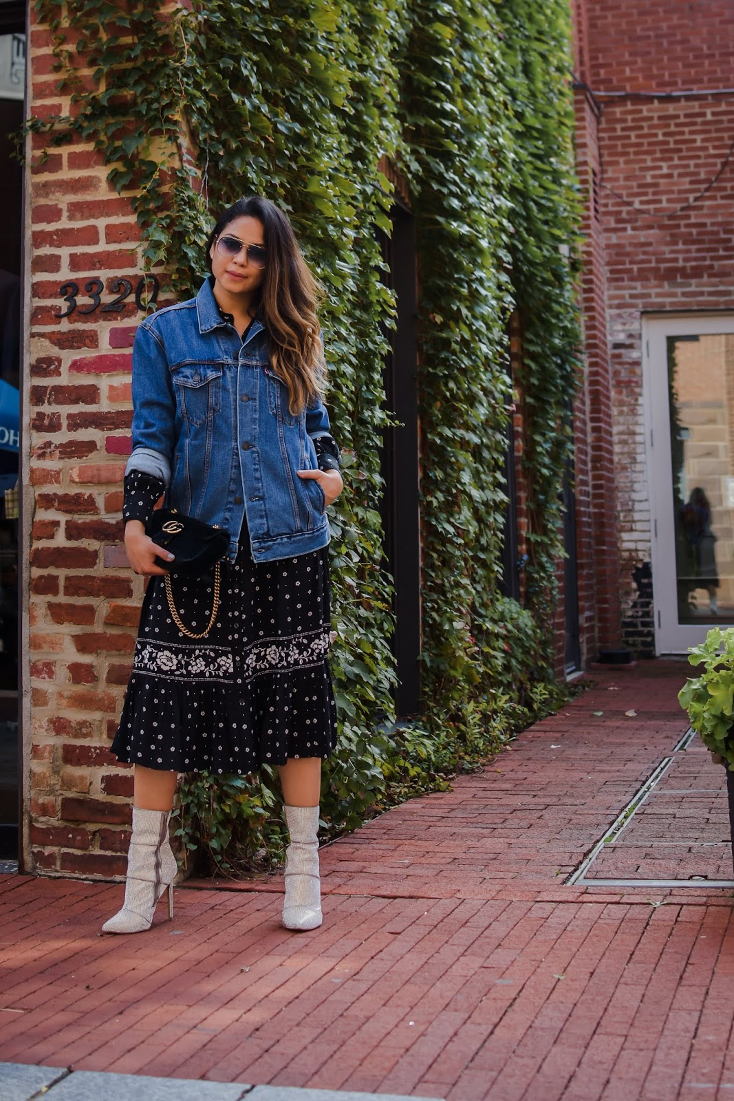 kate spade bandana dress, black dress, supersized denim jacket, boyfriedn jakcet, street style, holiday look, party look, fall fashion, steve madden sparkly booties,  myriad musings