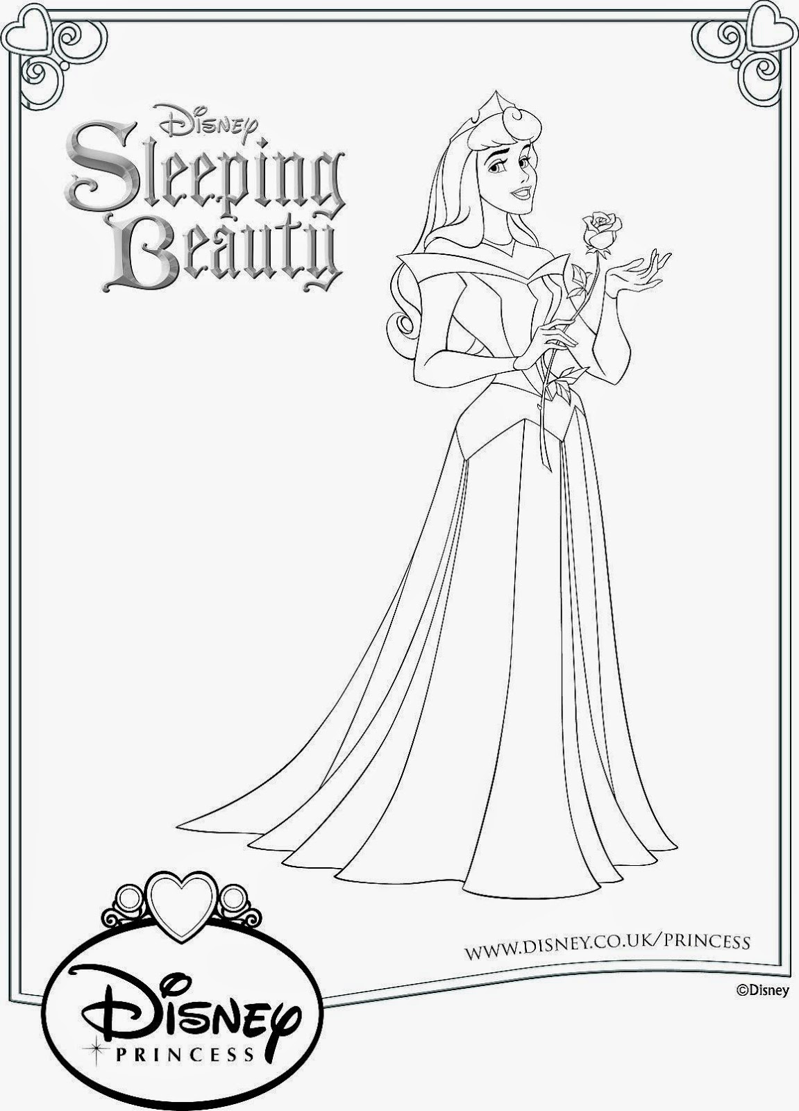 sleeping beauty printable colouring sheet
