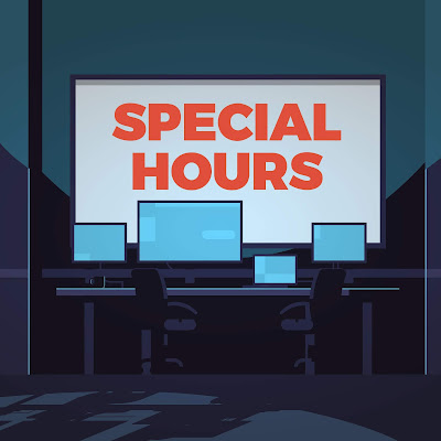 "Graphic shows a computer lab with ""Special Hours"" on a big screen"
