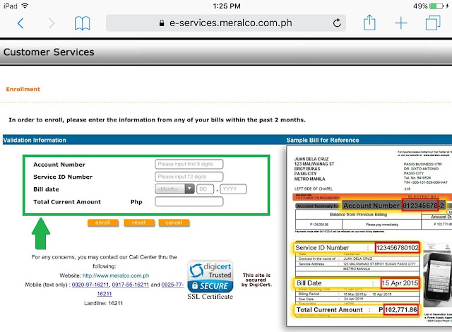 MERALCO Bill Account Number and Service ID Number