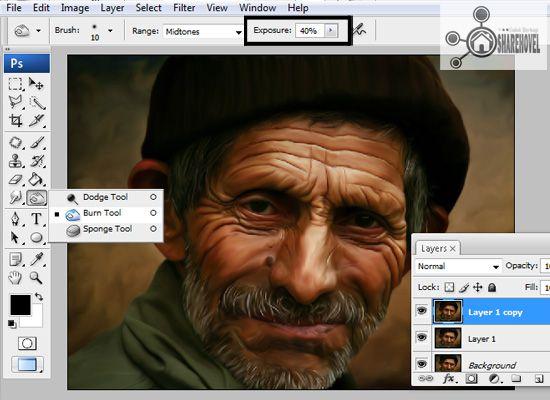 menggunakan burn tool dan mengatur jumah exposure dan mode range - tutorial cara membuat efek smudge painting di photoshop
