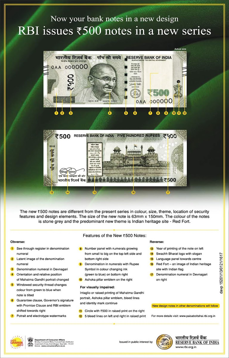 New Features, Design and Facts About New 500 Rupees Note Issued By RBI (2016), new design detail, changes, in new bank note 500 by RBI. details in odia.