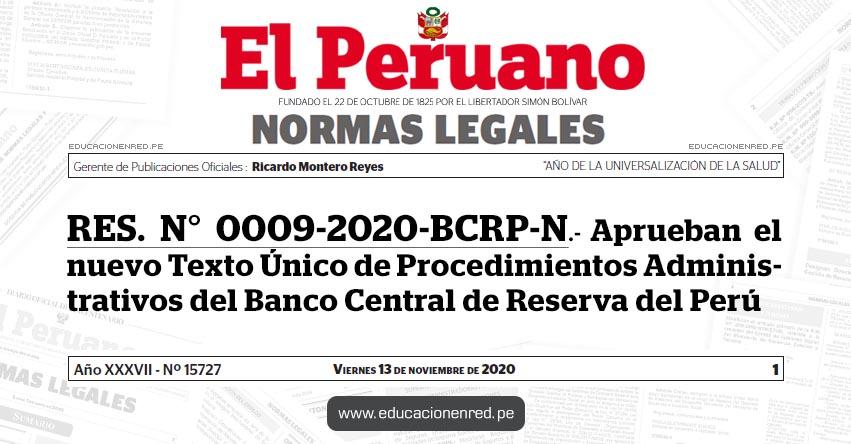 RES. N° 0009-2020-BCRP-N.- Aprueban el nuevo Texto Único de Procedimientos Administrativos del Banco Central de Reserva del Perú