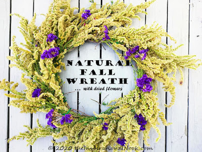natural fall wreath, golden rod wreath, yellow and purple natural fall wreath, statice