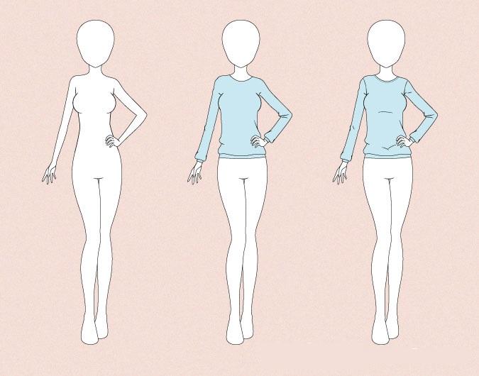 Menggambar sweater anime pada contoh gambar tubuh