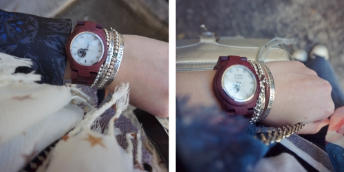 Ways to wear JORD wood women's watch Cora purpleheart | AwayFromTheBlue