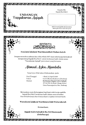 contoh undangan aqiqah sederhana
