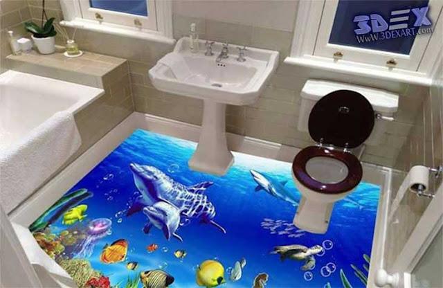 3D Epoxy Flooring, 3D Floor designs, 3d bathroom floor, underwater fish mural