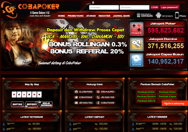 CobaPoker Agen Poker, Dewa Poker, Agen Domino QQ, Agen BandarQ ,BandarQ Terpercaya