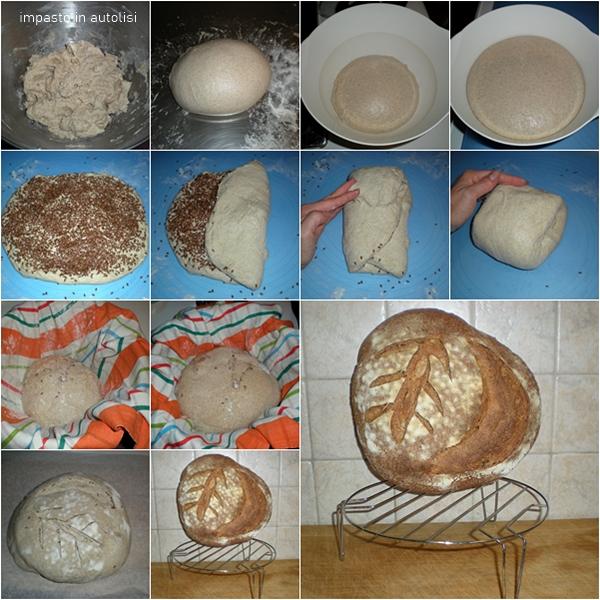 Pane con farina di segale e semi di lino