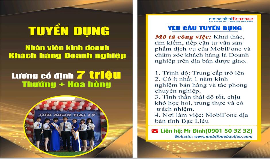 Cần tuyển vị trí Nhân viên kinh doanh khách hàng Doanh nghiệp tại Bạc Liêu