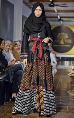 baju pesta batik muslimah modern