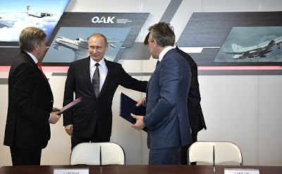 Aeroflot, United Aircraft Corporation and Vnesheconombank sign a contract on delivering 20 Sukhoi Superjet100 aircraft to Aeroflot, in the presence of Vladimir Putin, at the International Aviation and Space Salon MAKS-2017.