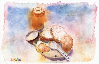 カゼをひいた紙に描いた水彩画。フランスパンとジャム。