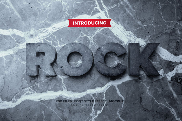 ROCK_FX 3D Text Effects PSD Mockup