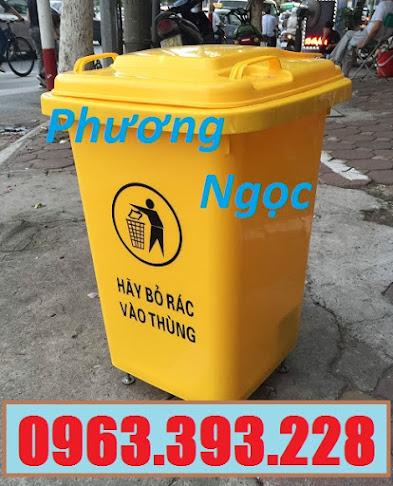 Thùng rác 60L nhựa HDPE, thùng rác 60 Lít nắp kín, thùng rác đạp chân NK60L4
