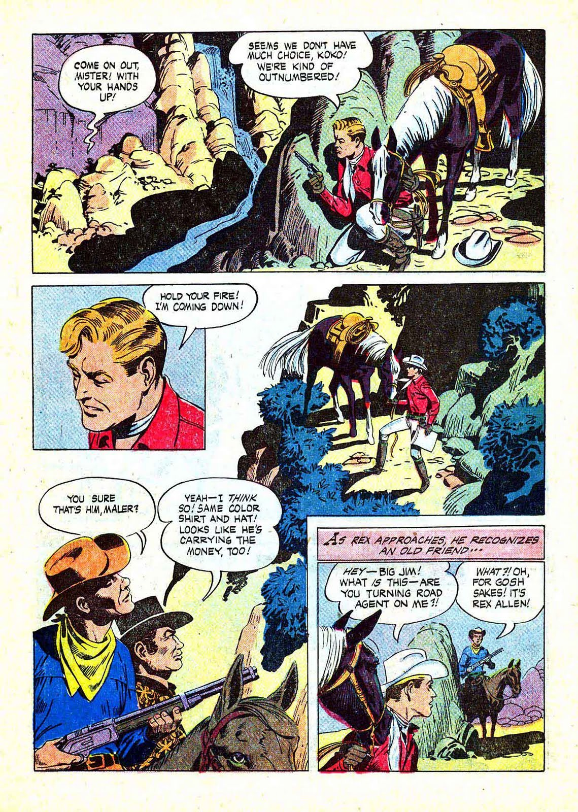 Rex Allen v1 #27 dell western comic book page art by Russ Manning