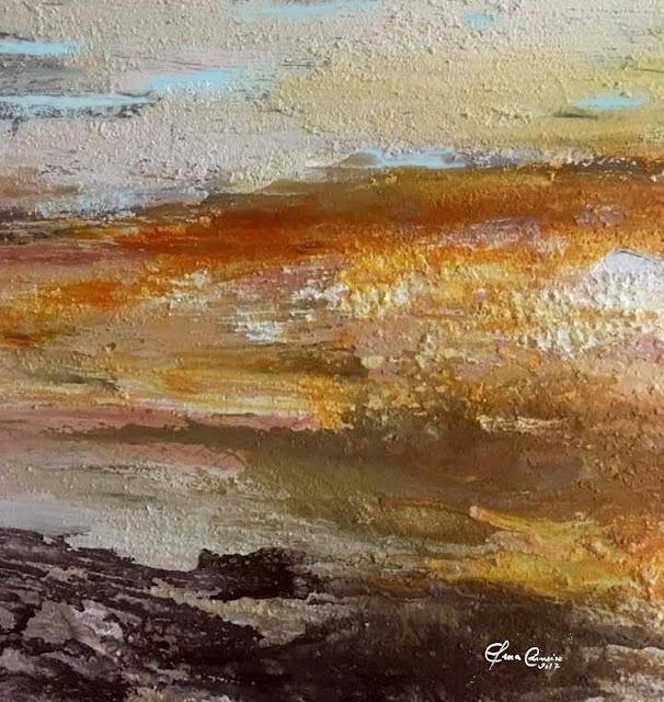 Landscape -  mista s/tela com texturas - Por do sol - Elma Carneiro