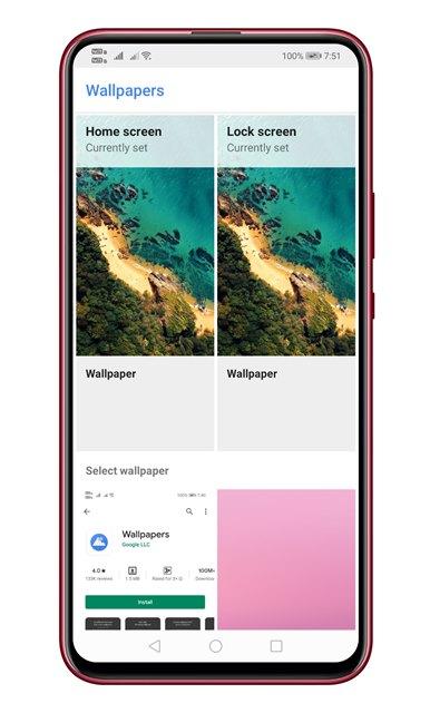 Buka aplikasi wallpaper