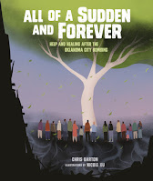 Book cover of All of a Sudden and Forever. Many people are standing facing a large tree. The roots are visible beneath the ground.