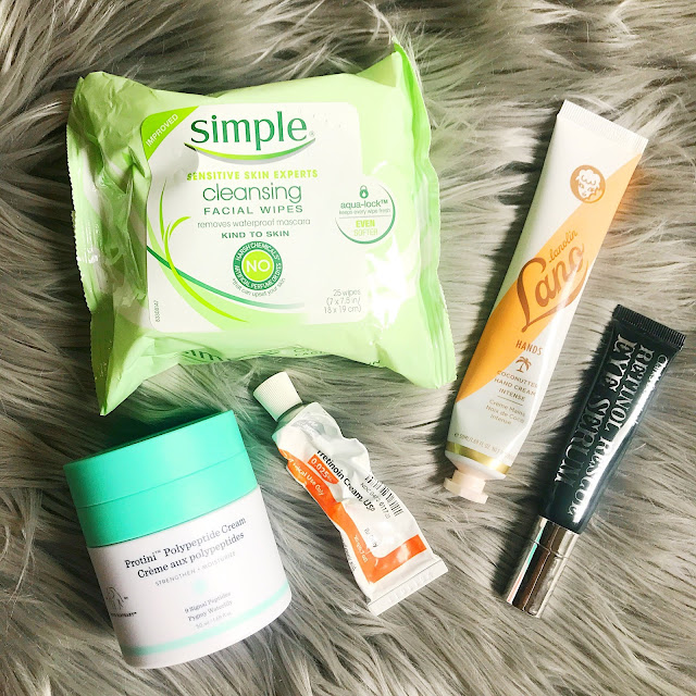 simple wipes, drunk elephant propini cream, lano hand cream, clark's botanicals eye serum