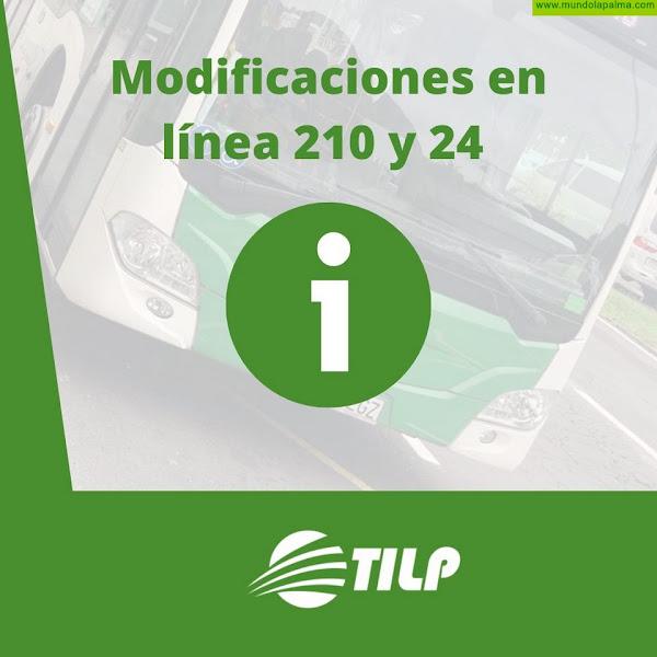 TLIP informa de las modificaciones en líneas de guagua 210 y 24 por el volcán