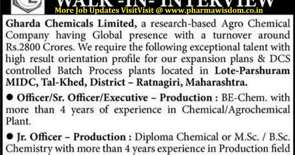 Gharda Chemicals Ltd - Walk-In Interviews for Production