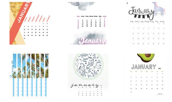 vista previa de calendarios mensuales