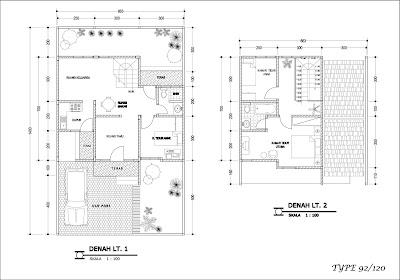Gambar denah rumah bertingkat minimalis tipe 92
