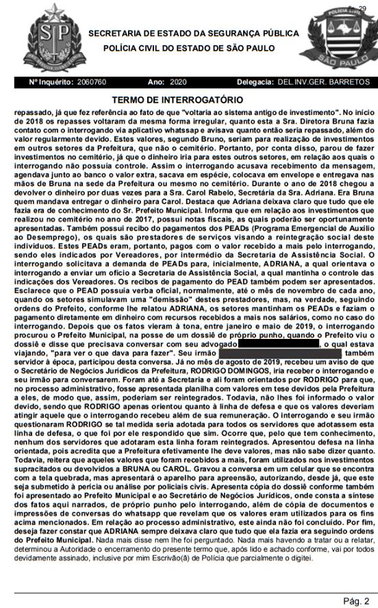 SERVIDOR PÚBLICO ALEGA EM SEU DEPOIMENTO QUE PREFEITO DE BARRETOS SABIA COMO ERA CONHECEDOR DA FORMA ILÍCITA QUE O DINHEIRO ERA REPASSADO NOS HOLERITES (Barretos que Ninguém Vê)- Pag.2
