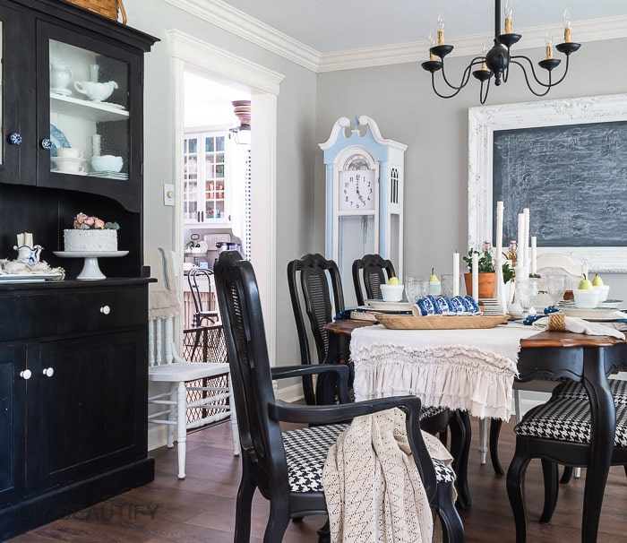 dining room with black hutch