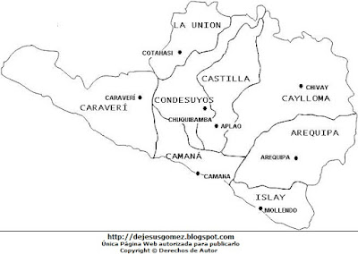 Dibujo del Mapa político de Arequipa con nombres para colorear pintar imprimir por Jesus Gómez