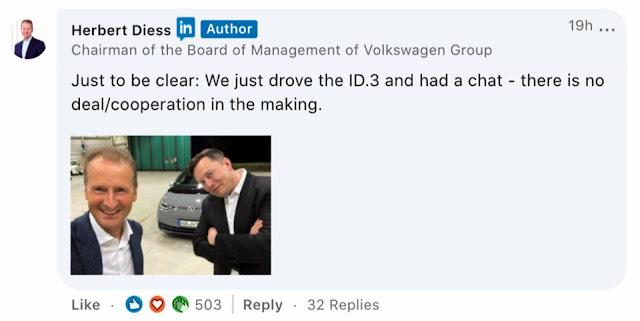 CEO da VW, Herbert testa o Tesla Model Y e diz que é a referência