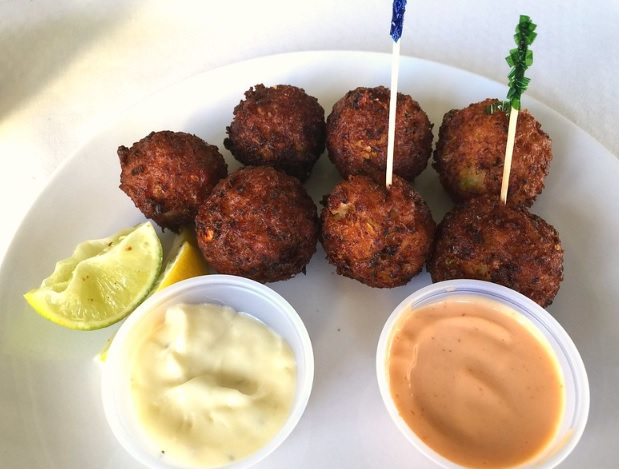 Gari fritters made with cassava flour and curry seasonings