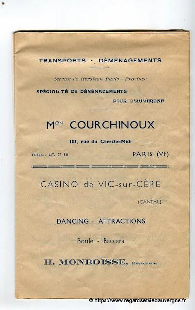 La Bourrée du Massif Central, programme 1938, Mon Courchinoux, Casino de Vic-sur-Cère.