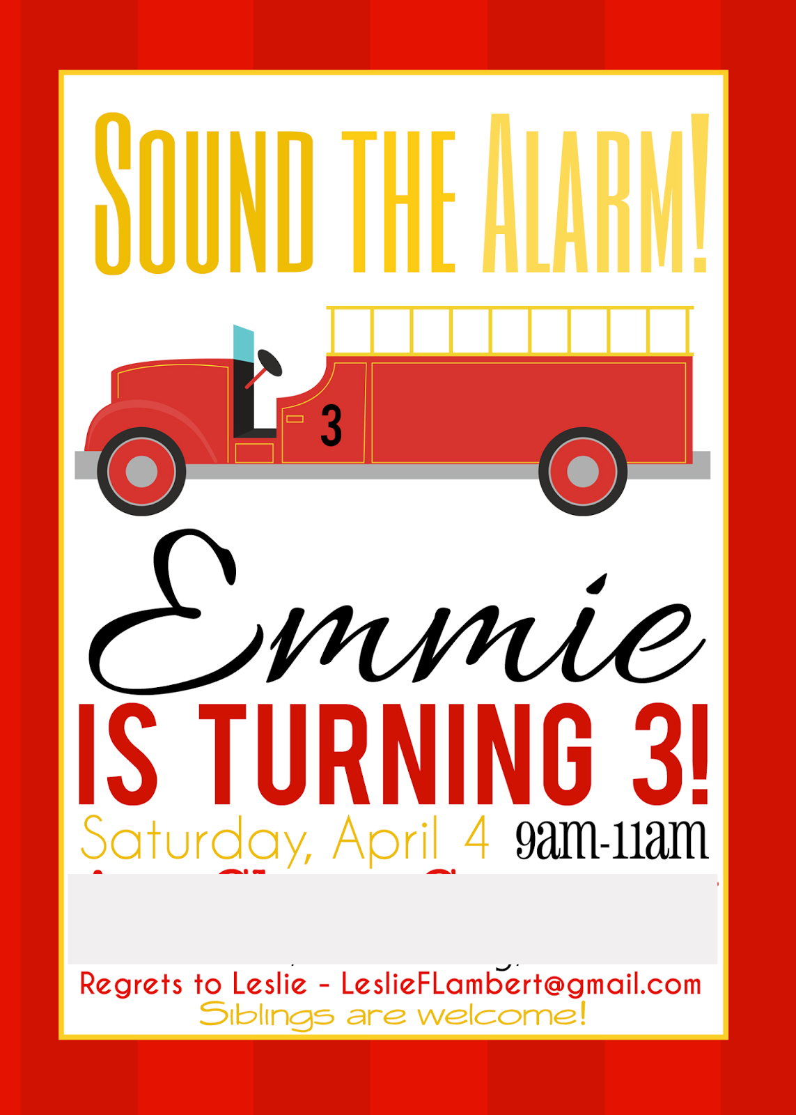Invitation idea for fireman/firetruck birthday party...cute invites!
