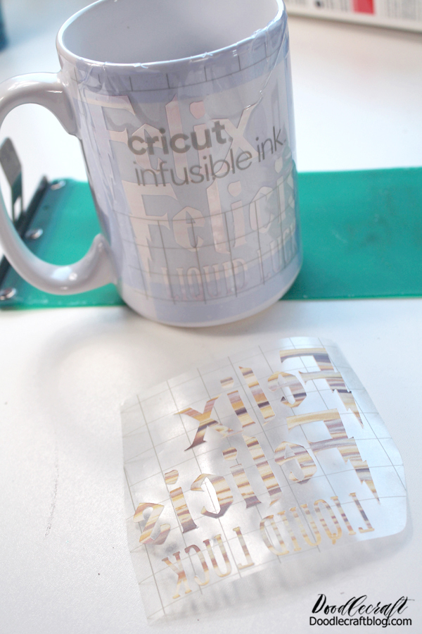 Step 3: Place on Mug Use the heat resistant tape to adhere the transfer in place. It can be a little tricky to line up the words straight. I always do 2 images, so I can put them on both sides of the mug...I want both sides to be cute!