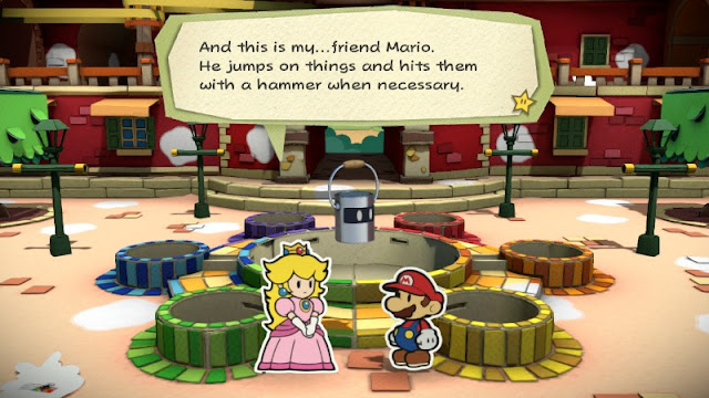 Paper Mario Color Splash Princess Peach friend zode jumps on things hits them with a hammer when necessary