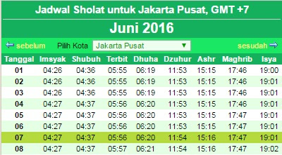 Jadwal Imsak Bulan Ramadhan 2016