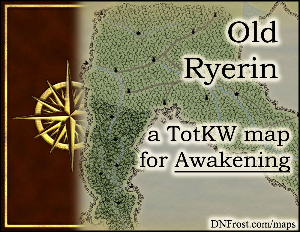 Old Ryerin: fallen civilization of the tree elves www.DNFrost.com/maps #TotKW A map for Awakening by D.N.Frost @DNFrost13 Part 12 of a series.