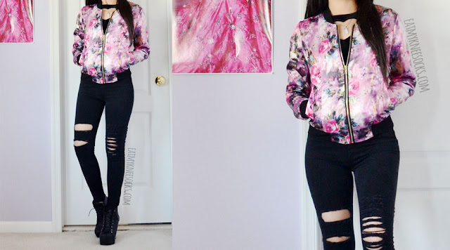Details on the silky satin floral print bomber jacket from Allegra-K, worn with ripped high waisted black skinny jeans and a velvet heart cutout crop top.