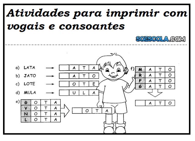 Atividades para imprimir com vogais e consoantes