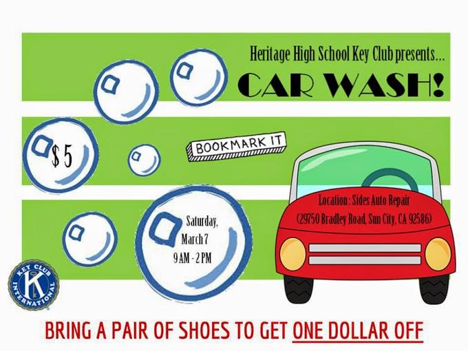 Heritage Car Wash: Heritage Key Club To Hold Car Wash, Shoe Drive