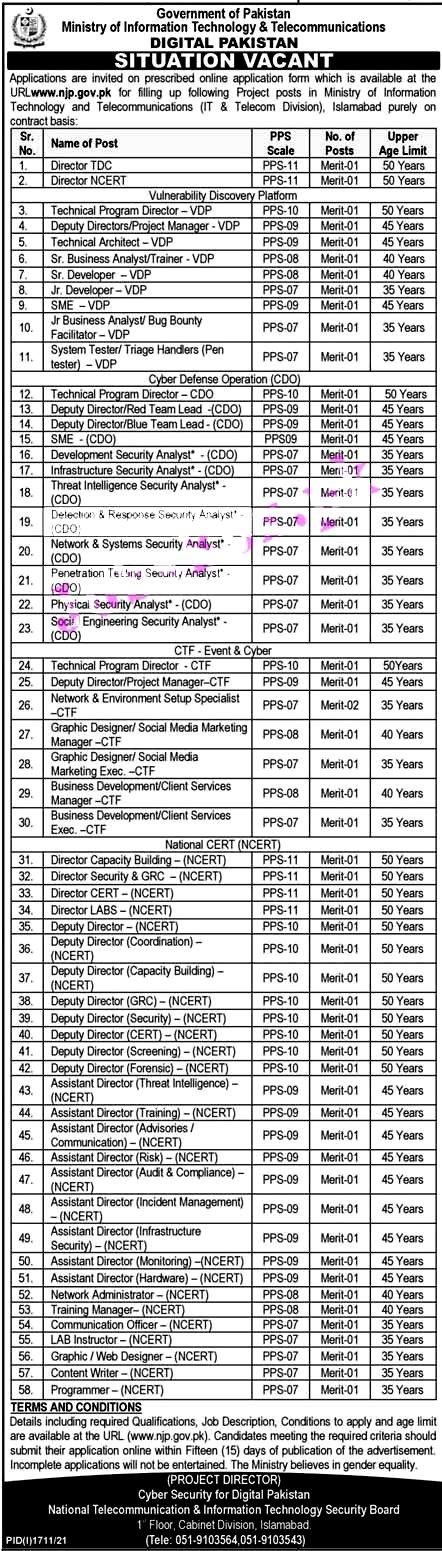 Ministry of IT & Telecommunication MOITT  Latest Jobs 2021- Online Apply