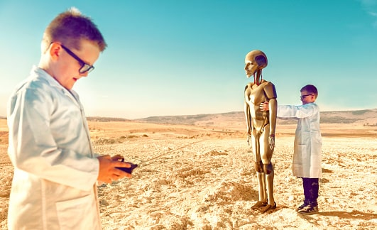 A young boy control the Disaster robot - Future scope of robotics