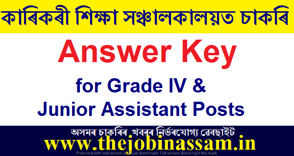 Answer Key for Grade IV & Junior Assistant Posts