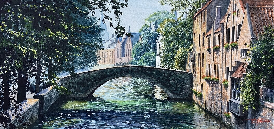 09-Bruges-Igor-Dubovoy-A-Love-for-Travelling-and-Realistic-Watercolour-Paintings-www-designstack-co