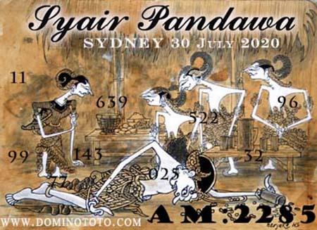 Syair Pandawa Sydney Kamis 30 Juli 2020