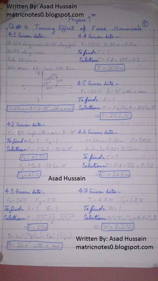Matric 9th Physics Notes Chapter 4 Numerical Asad Hussain